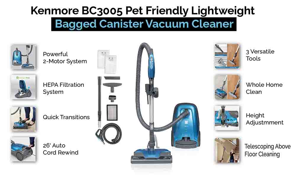 Kenmore Pet Friendly Lightweight Canister Vacuum Cleaner