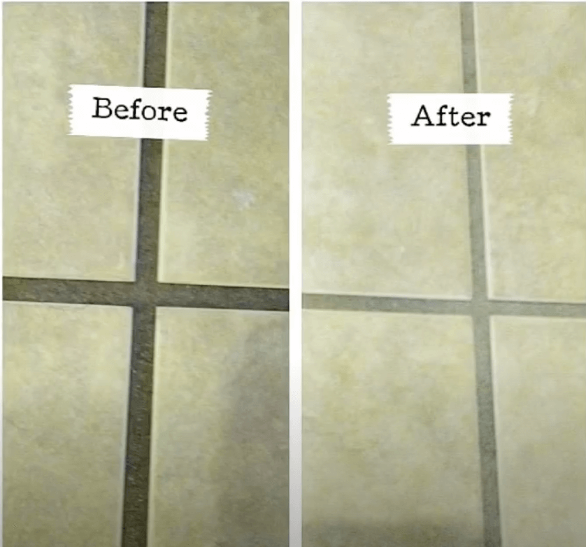 Before & After Cleaning the Grout Lines on Tiled Floors